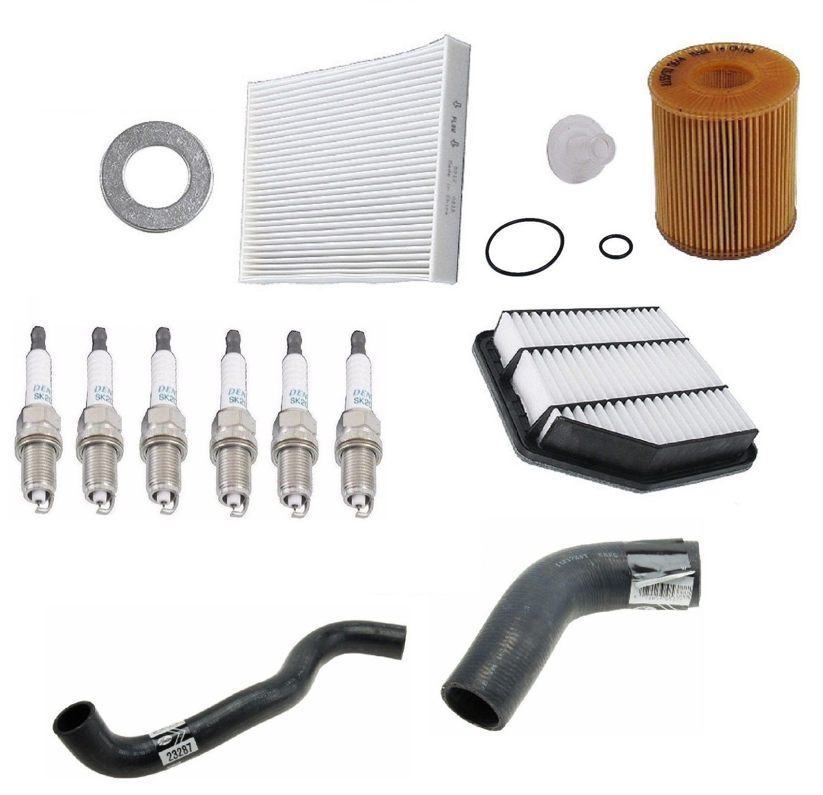 Tune Up Kit Oil Plugs Filters Hoses for Lexus IS250 06-10 Lexus IS350 10-12 by Stone / Original Performance / Gates / Denso