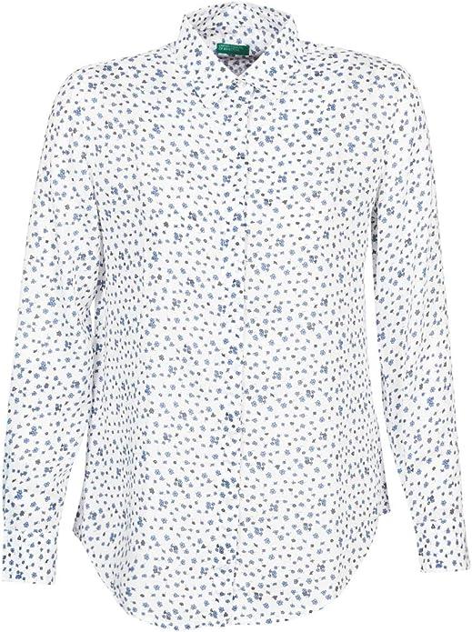 BENETTON POLIFOU Camisas Femmes Blanco/Azul - L - Camisas: Amazon.es: Zapatos y complementos