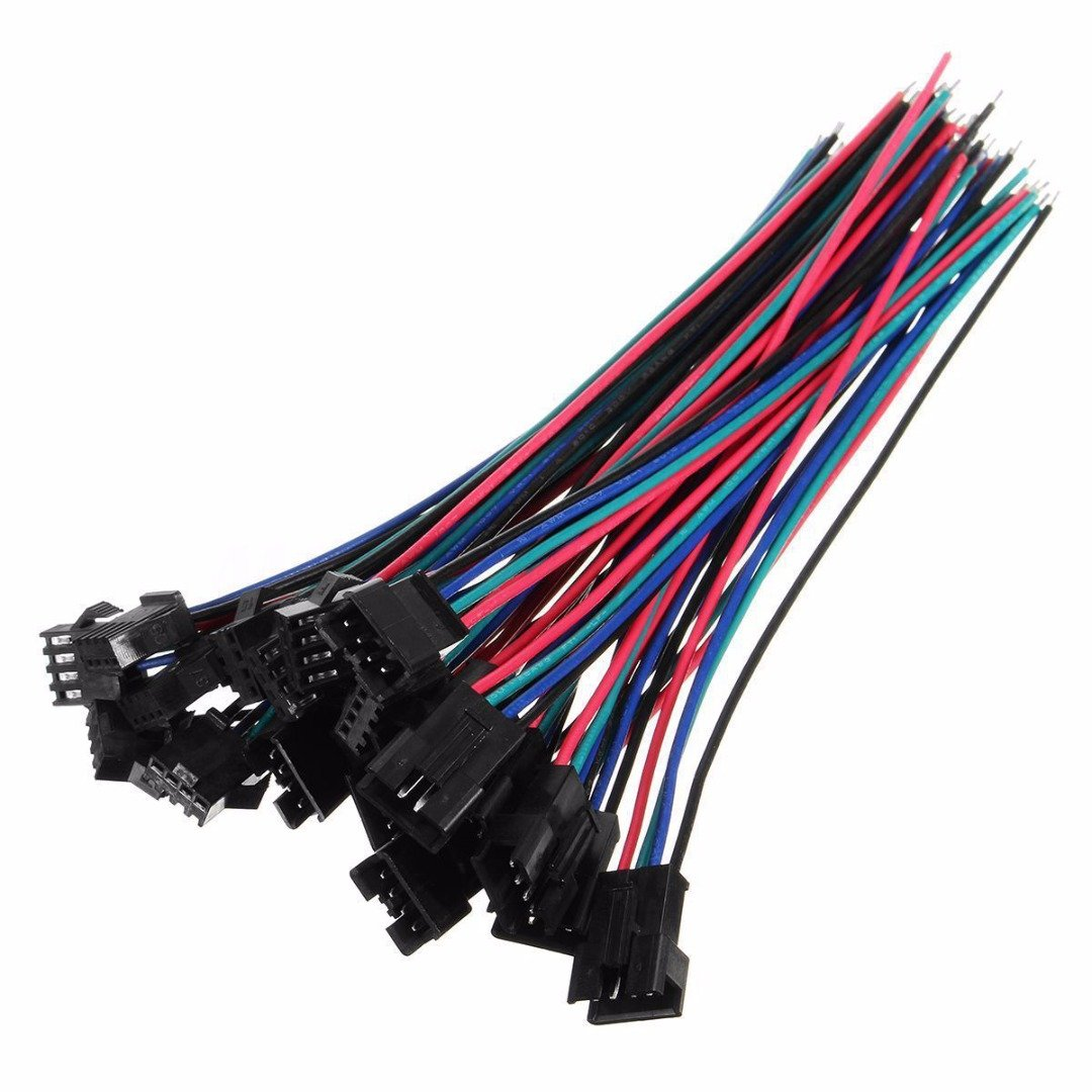 10 Sets 4 Pin Wire Connectors With Wire 2.54 22AWG 15cm PDTO