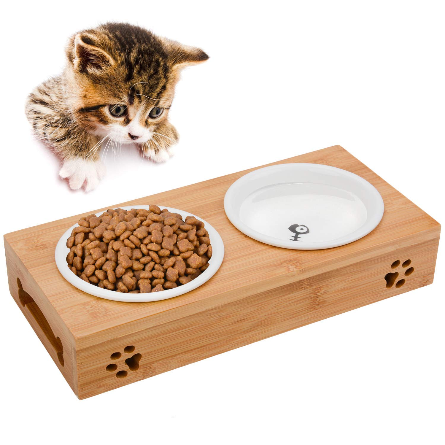 Legendog Cat Bowls, Elevated Dog Cat Bowls, Fashion Cat CeramicBowl with Bamboo Stand, Cat Food Water Bowl, Pet Bowls for Cats and Small Dogs by Legendog