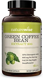 NatureWise Green Coffee Bean 800mg Max Potency Extract 50% Chlorogenic Acids