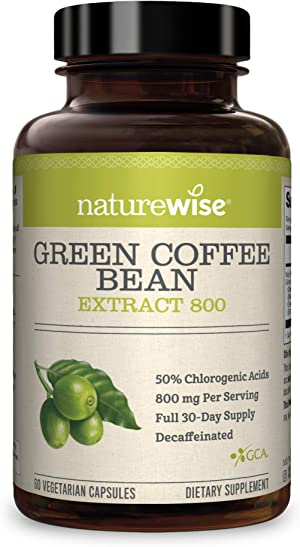 NatureWise Green Coffee Bean 800mg Max Potency Extract 50% Chlorogenic Acids   Raw Green Coffee Antioxidant Supplement & Metabolism Booster for Weight Loss   Non-GMO, Vegan, & Gluten-Free [1 Month]