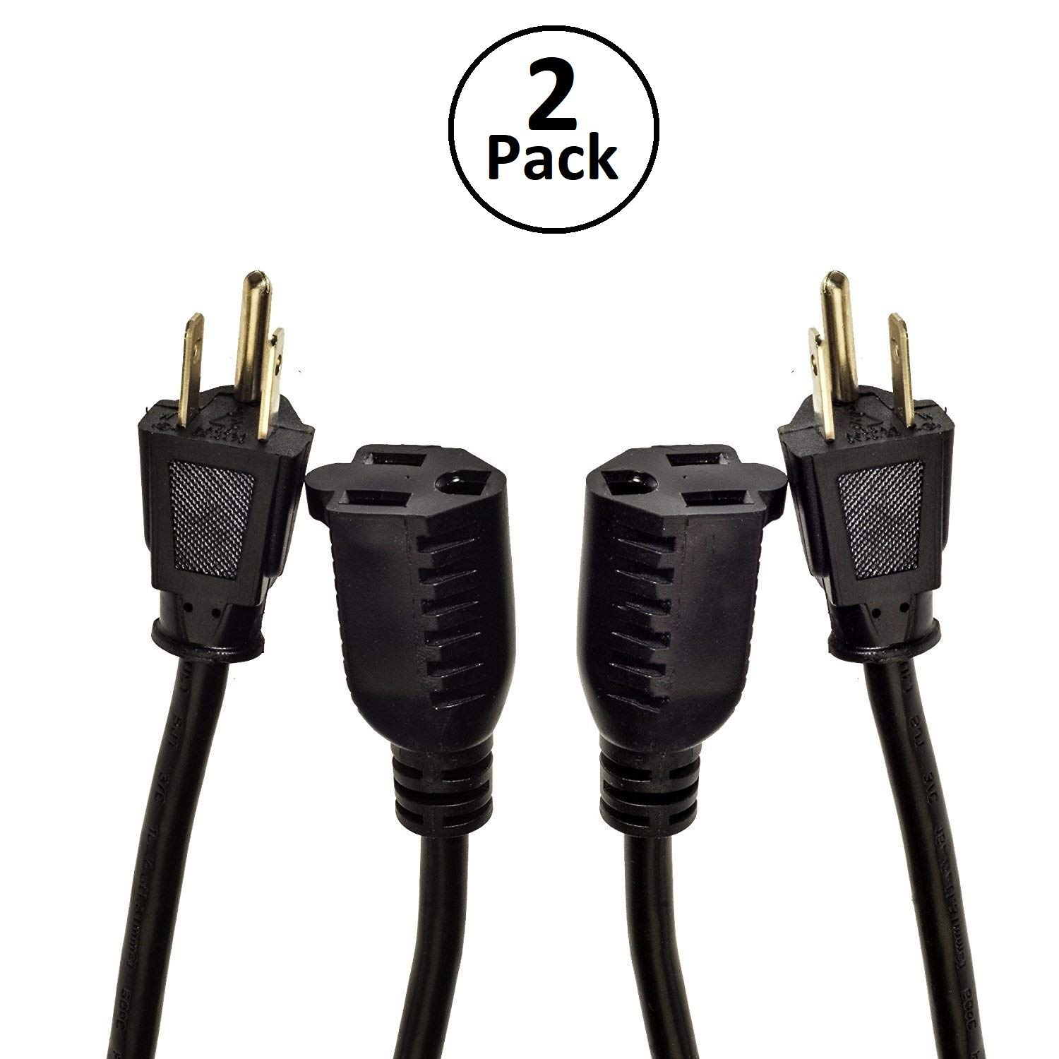 Digital Energy 3prong 25 Foot Long Extension Cords Two Home Power Products Cord Black Sjt 14 Awg Pack 3 Prong Single Outlet Heavy Duty Indoor Outdoor Grounded 13 Amp