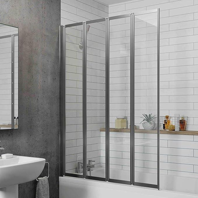 Luxura Twyford - Mampara de Ducha Plegable para baño (4 Paneles, 1000 mm, Reversible, Cristal de 4 mm): Amazon.es: Hogar