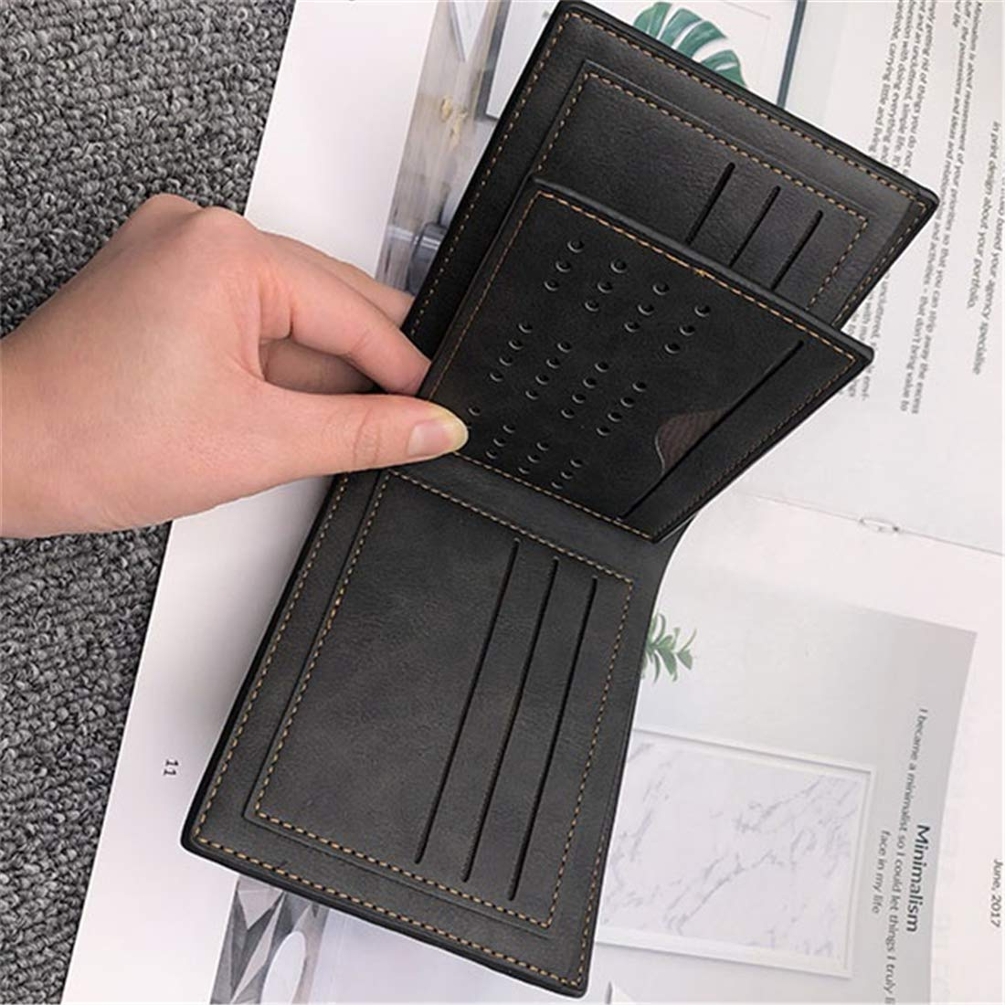 Handmade Slim Mens Wallet Credit Card Holder with ID Window Fathers Day gift Personalized Leather Trifold Wallets for Men