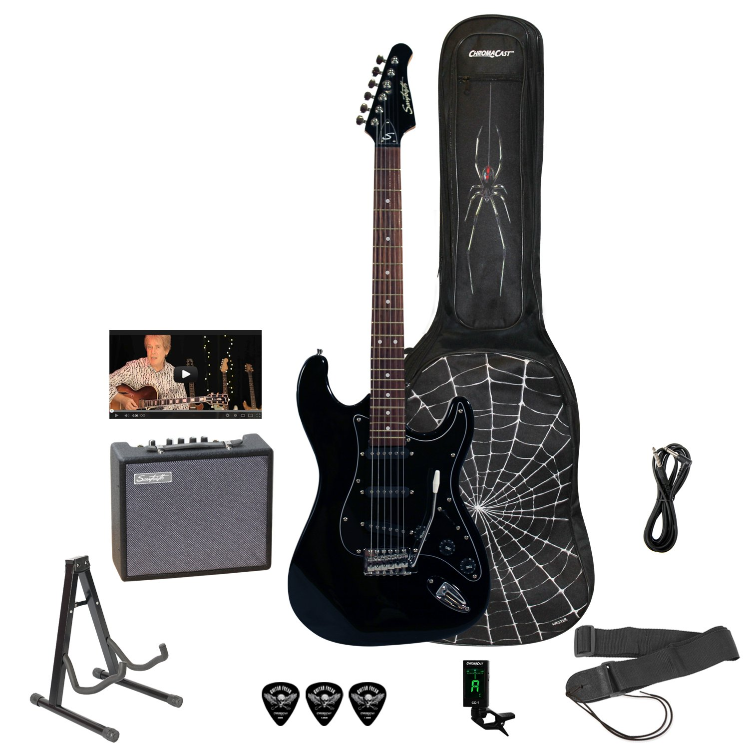 Sawtooth St Es Spider Kit3 Bkb Electric Guitar Rockin Plans Further Gibson 355 2016 Explorer Wiring Beginners Pack With Black Pickguard Musical Instruments