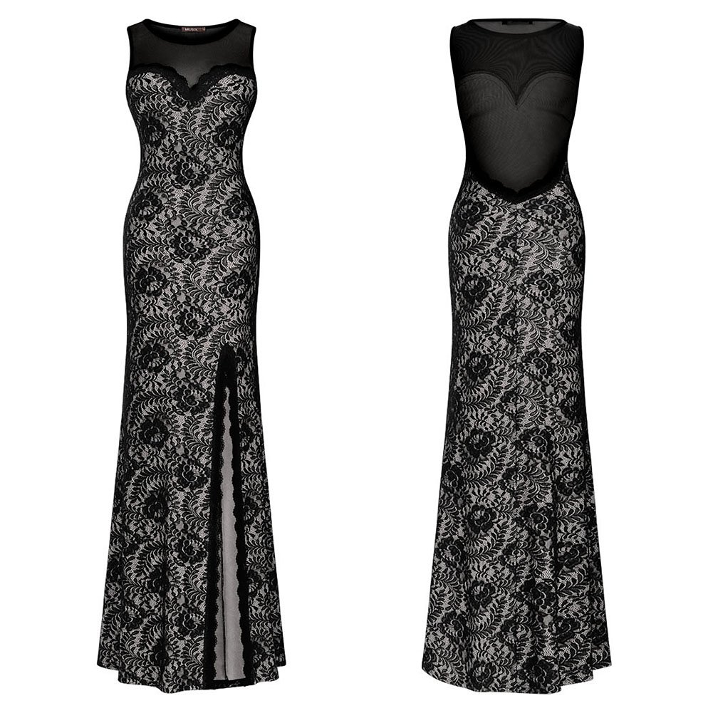 clorislove Women Illusion Neckline Lace Maxi Sleeveless Split Side Evening Formal Dress (XX-Large, Black): Amazon.co.uk: Clothing