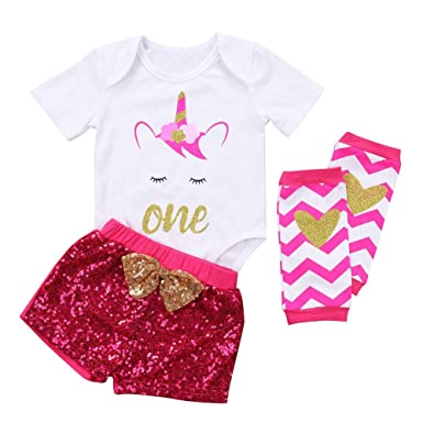 896ba64d16c6 Girls Unicorn First Birthday Outfit