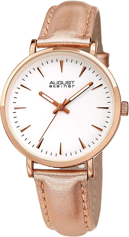 August Steiner AS8259 Designer Women's Watch – Genuine Leather Metallic Strap – White Enamel Dial, Three Handed Quartz Movement