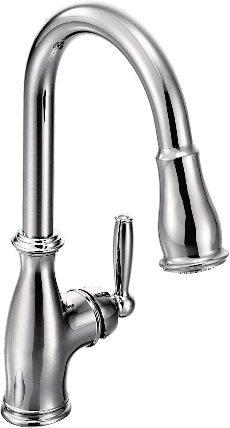 Moen 7185C Brantford One-Handle Pulldown Kitchen Faucet Featuring Power  Boost and Reflex, Chrome