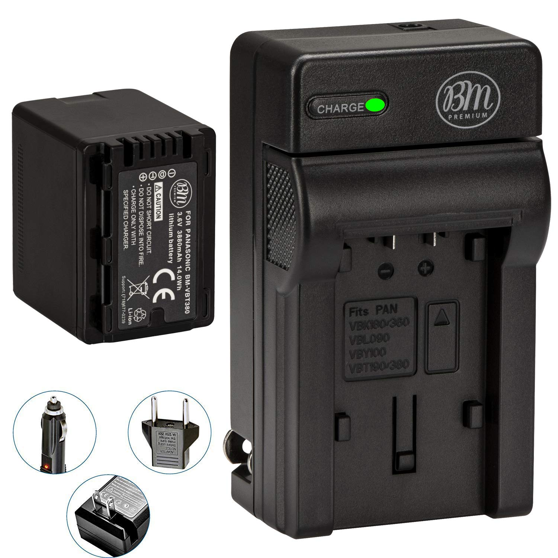 BM Premium VW-VBT380 Battery and Battery Charger for Panasonic HC-V800K, HC-VX1K, HC-WXF1K, HCV510, HCV520, HC-V550, HCV710, HC-V720, HC-V750, HC-V770, HC-VX870, HC-VX981, HCW580, HC-W850, HC-WXF991 by BM Premium