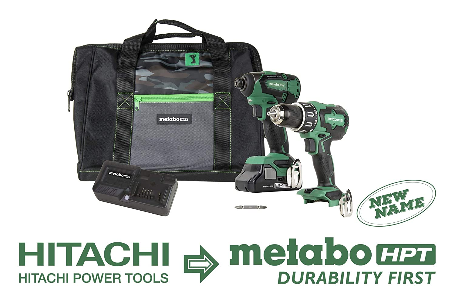 Metabo HPT KC18DBFL2S 18V Cordless Brushless Hammer Drill and Impact Driver Combo Kit, 1 – Compact 3.0Ah Lithium Ion Battery, Variable Speed Trigger, Belt Hook, LED Light, Lifetime Tool Warranty