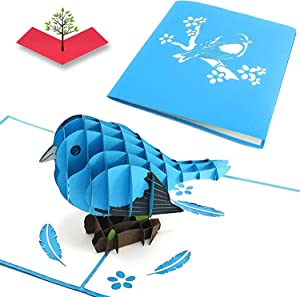 PopLife Bluebird of Happiness 3D Pop Up Mothers Day Card - Anniversary Pop Up Birthday Card, Good Luck, Thank You - Cute Gift for Her - Fold Flat for Mailing - for Mom, for Daughter, for Wife, Grandma