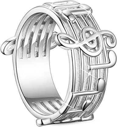 MUSICAL NOTATION RING 925STERLING SILVER Size US=6,7,8,9,10,11