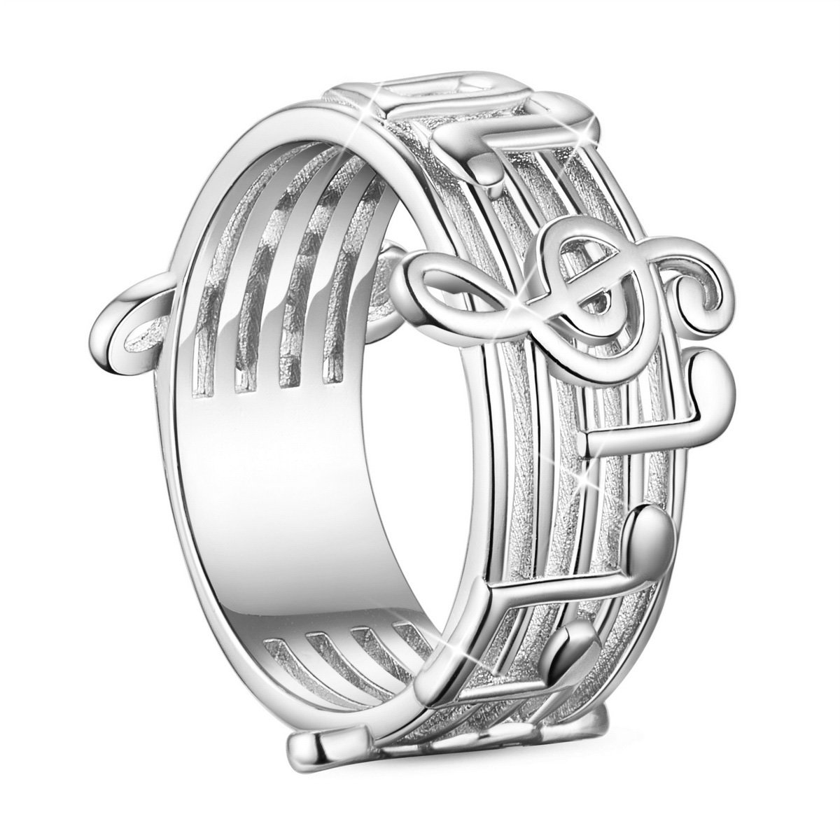 SHEGRACE 925 Sterling Silver Finger Ring with Musical Notes