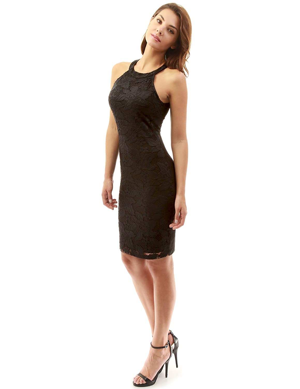 PattyBoutik Women s Halter Front Lace Overlay Sheath Dress (Black XL ... 41446161d