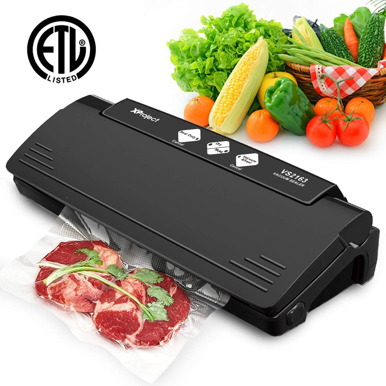 XProject Vacuum Sealer Machine Multifunction Automatic Sealing System Dry and Moist Food Mode for Food Preservation and Sous Vide
