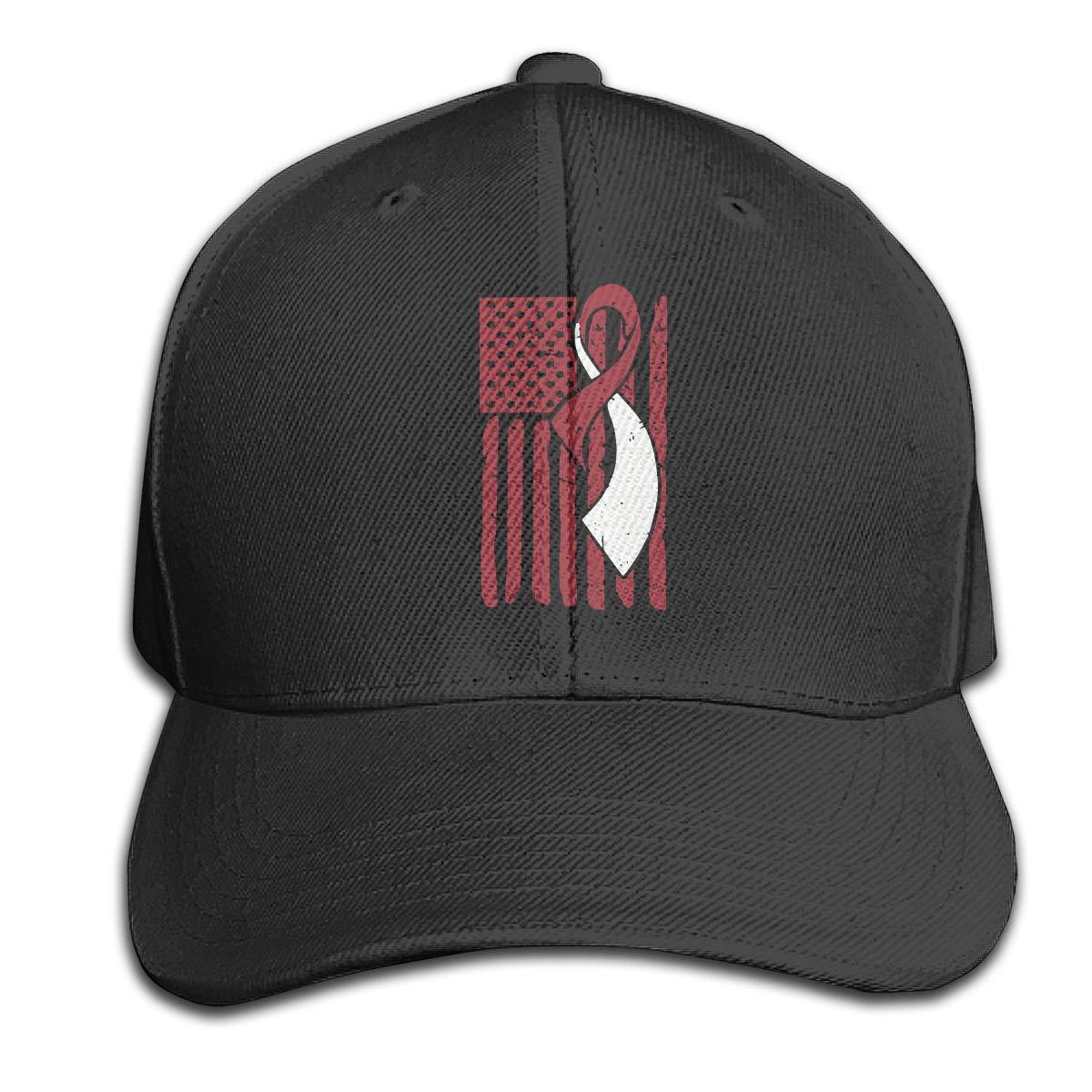 Head Neck Cancer Awareness Ribbon American Flag Unisex Baseball Cap Adjustable Plain Hat for Women Men