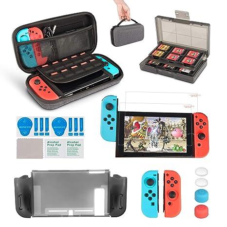 innoAura 11 en 1 Kit accesorios para Nintendo Switch, con funda de transporte, Estuche De Juegos, funda de TPU, fundas para controles Joy Con, ...