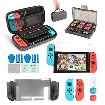 1d6c4dc3f83 innoAura 11 en 1 Kit accesorios para Nintendo Switch, con funda de  transporte, Estuche