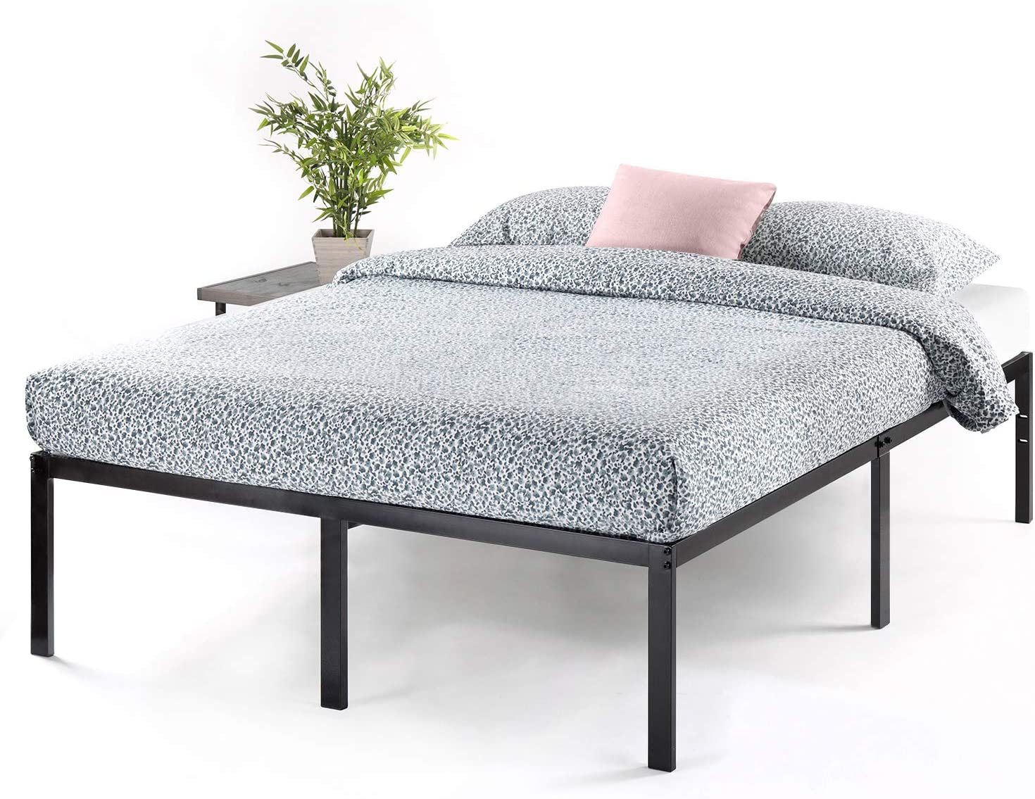 Best Price -Mattress 18 Inch Metal Platform Bed, Heavy Duty Steel Slats, No Box Spring Needed, Easy Assembly, Black, Queen