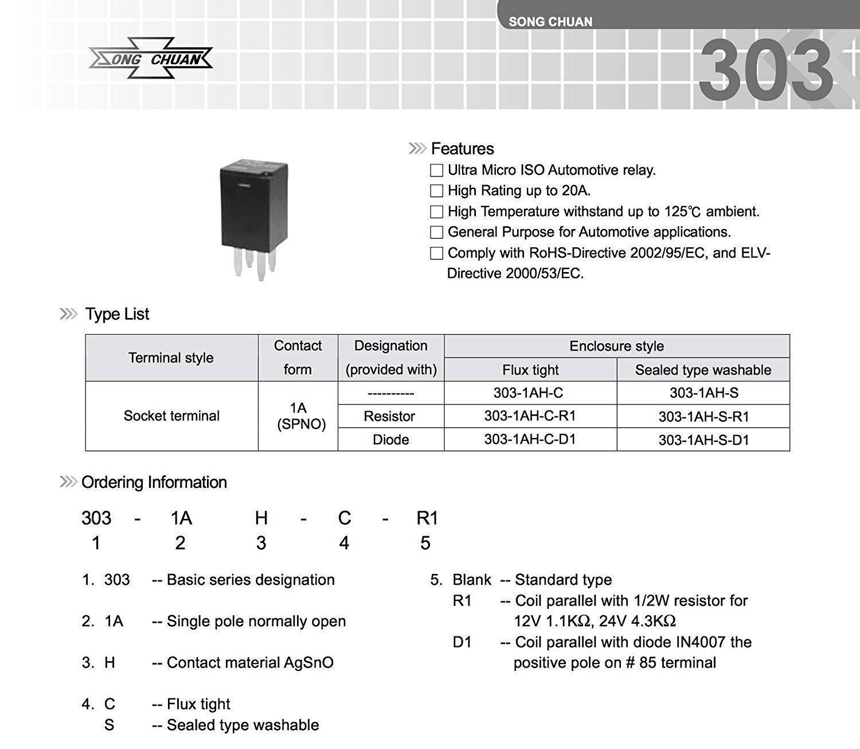 Automotive Purpose Relays 303-1AH-C-R1-U01-12VDC SPNO 20A 12VDC 8 Pack