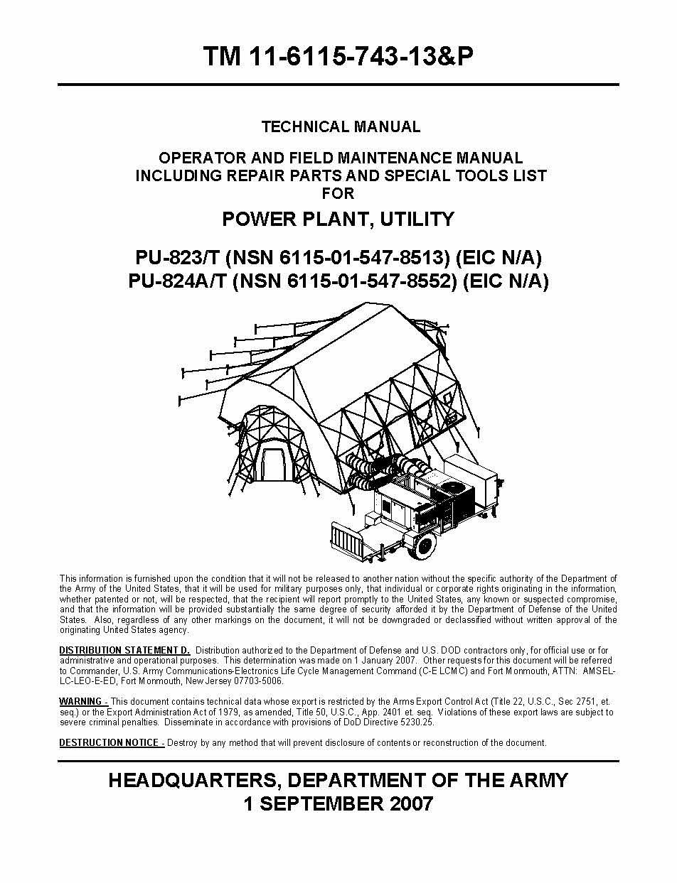 OPERATOR AND FIELD MAINTENANCE MANUAL INCLUDING REPAIR PARTS AND SPECIAL  TOOLS LIST FOR POWER PLANT, UTILITY PU-823/T PU-824A/T: DEPARTMENT OF THE  ARMY ...