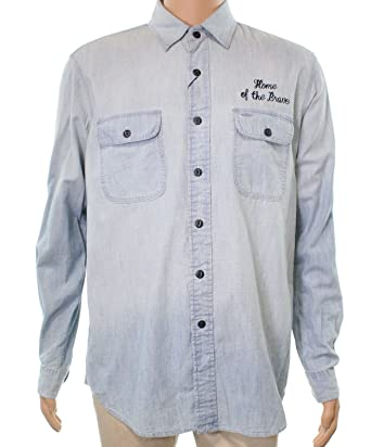10d52ae52e Image Unavailable. Image not available for. Color  Polo Ralph Lauren Mens  Embroidered Faded Denim Shirt ...