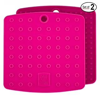 Set of (2) Premium, 5 in 1 Multipurpose Silicone Kitchen Tool: Trivet Mat, Pot Holders, Spoon Rest, Jar Opener, Coaster | Heat Resistant Hot Pads | Thick & Flexible | Great Gifts for Her (Fuchsia)