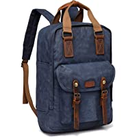 Canvas Laptop Backpack,VASCHY Vintage Waxed Canvas Anti-Theft Backpack for Men Fits 15.6inch Laptop Waxed Canvas Navy