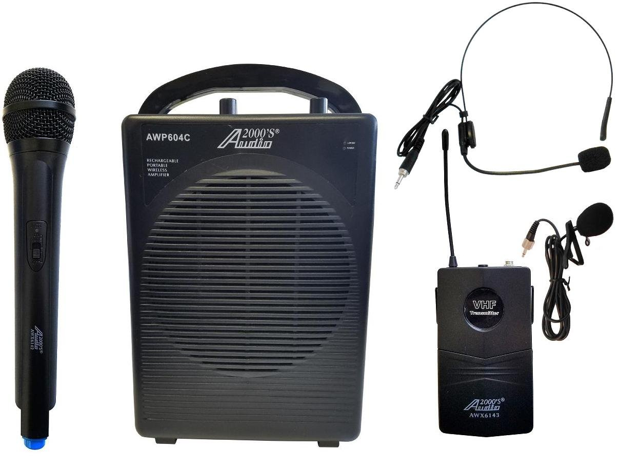 S604CL Audio2000'S Portable PA System With One Wireless Microphone & One Lavaliere