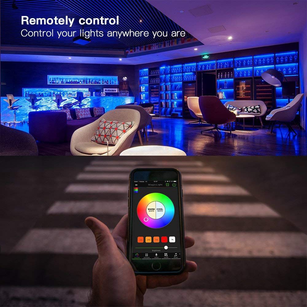 No Hub Required Multicolor MagicLight WiFi Smart Light Bulb Dimmable Wake-Up Lights Magic Light Compatible with Alexa and Google Assistant Zengge Co.,Limited
