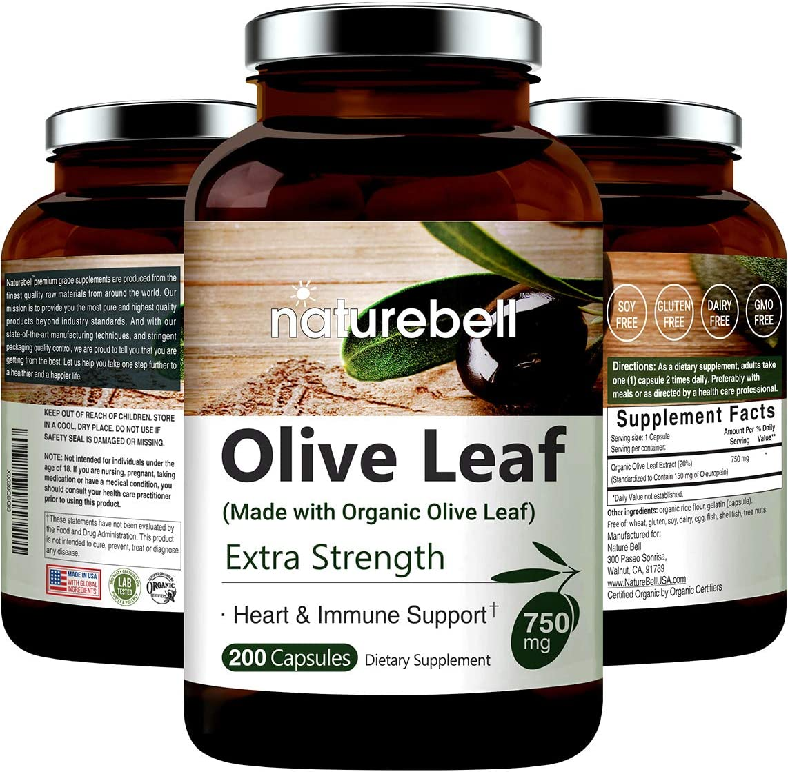 Olive Leaf Extract 750mg, 200 Capsules, Made with Organic Olive Leaf, Active Polyphenols and Oleuropein for Immune and Cardiovascular Health, Non-GMO