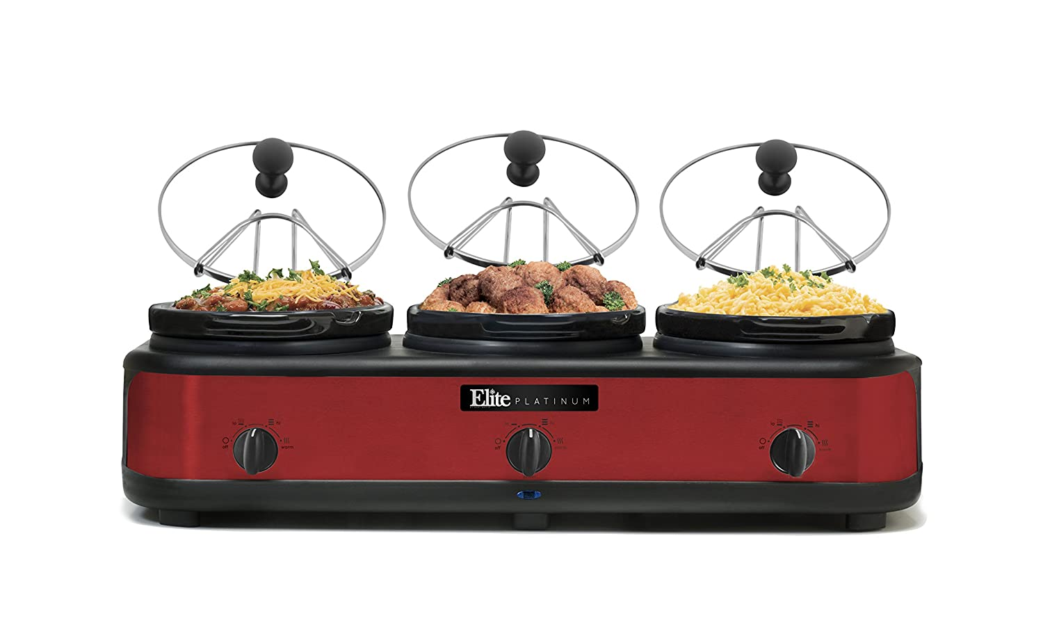 Elite Platinum EWMST-325R Triple Slow Cooker Buffet Server, Warmer, Adjustable Temp Dishwasher-Safe Oval Ceramic Pots, Lid Rests, 3 x 2.5Qt Capacity Red