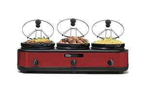 Elite Platinum EWMST-325R Triple Slow Cooker Buffet Server, Warmer, Adjustable Temp Dishwasher-Safe Oval Ceramic Pots, Lid Rests, 3 x 2.5Qt Capacity Red