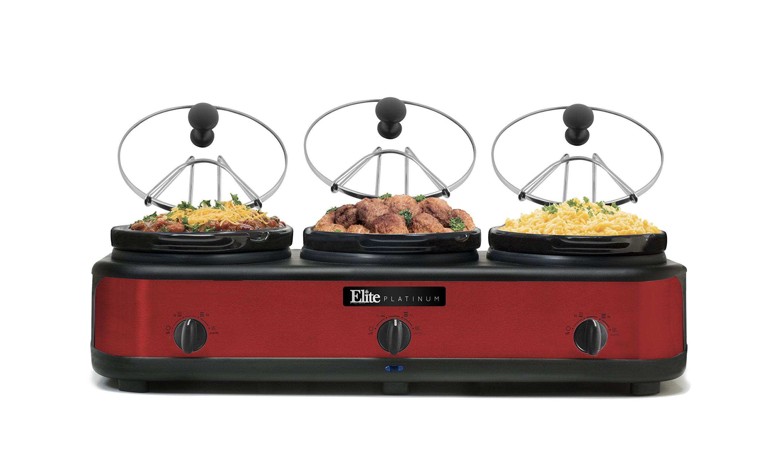 Maxi-Matic EWMST-325R Triple Slow Cooker, 7.5 Quart, Red