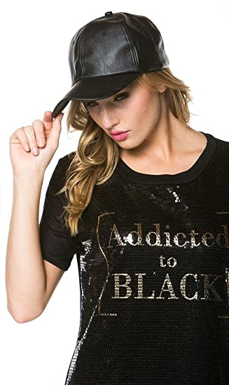 af80cbd26 Solid Faux Leather Cap in Black at Amazon Women's Clothing store: