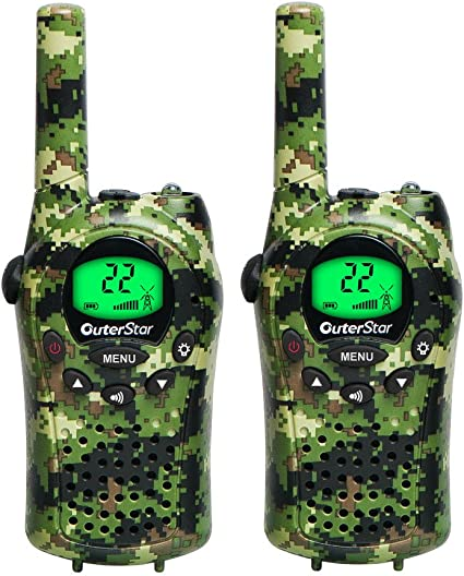 2X Walkie Talkie Sets Kids Long Range 6KM Two Way Radio 22 Channel Camouflage US