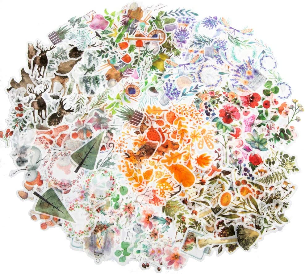 8 Packs Molshine 320pcs Decorative Stickers-Forest Animal Plant Flowers Series Decals for DIY,Personalize,Bullet Diary Decoration,Laptops,Scrapbook,Luggage,Cars,Books,Sealing