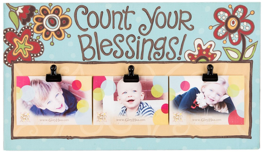 Glory Haus Count Your Blessings Clip Canvas Picture Frame, 11 by 20-Inch by Glory Haus