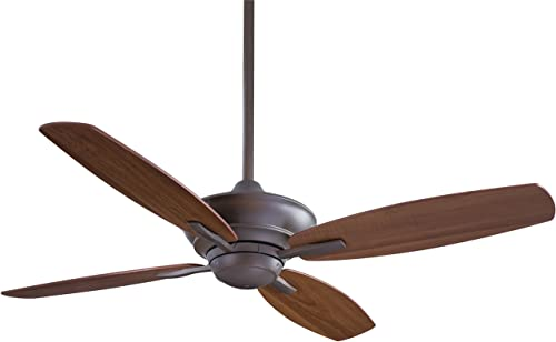 Minka F513-ORB Downrod Mount, 4 White Cream Blades Ceiling fan, Oil-rubbed Bronze