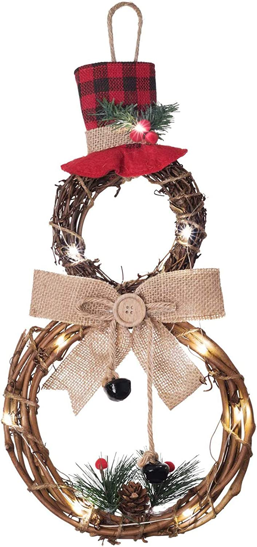 YQing 40.6cm x 20cm Guirnalda Navidad Puerta, LED Corona Navidad Monigote de Nieve Forma Corona de Vid Navidad Guirnalda con Sombrero y Lazo Piñas Bayas Navidad Decoración