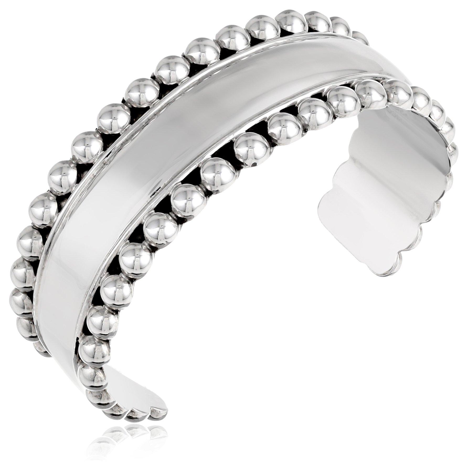 Sterling Silver Beaded Cuff Bracelet