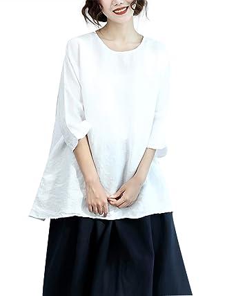 Duberess Womens Plus Size 100 Linen Loose Round Neck Oversized