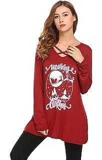 14b015d2 Womens Christmas Letter Print T-Shirt Tunic Tops AmyDong Sexy Criss ...