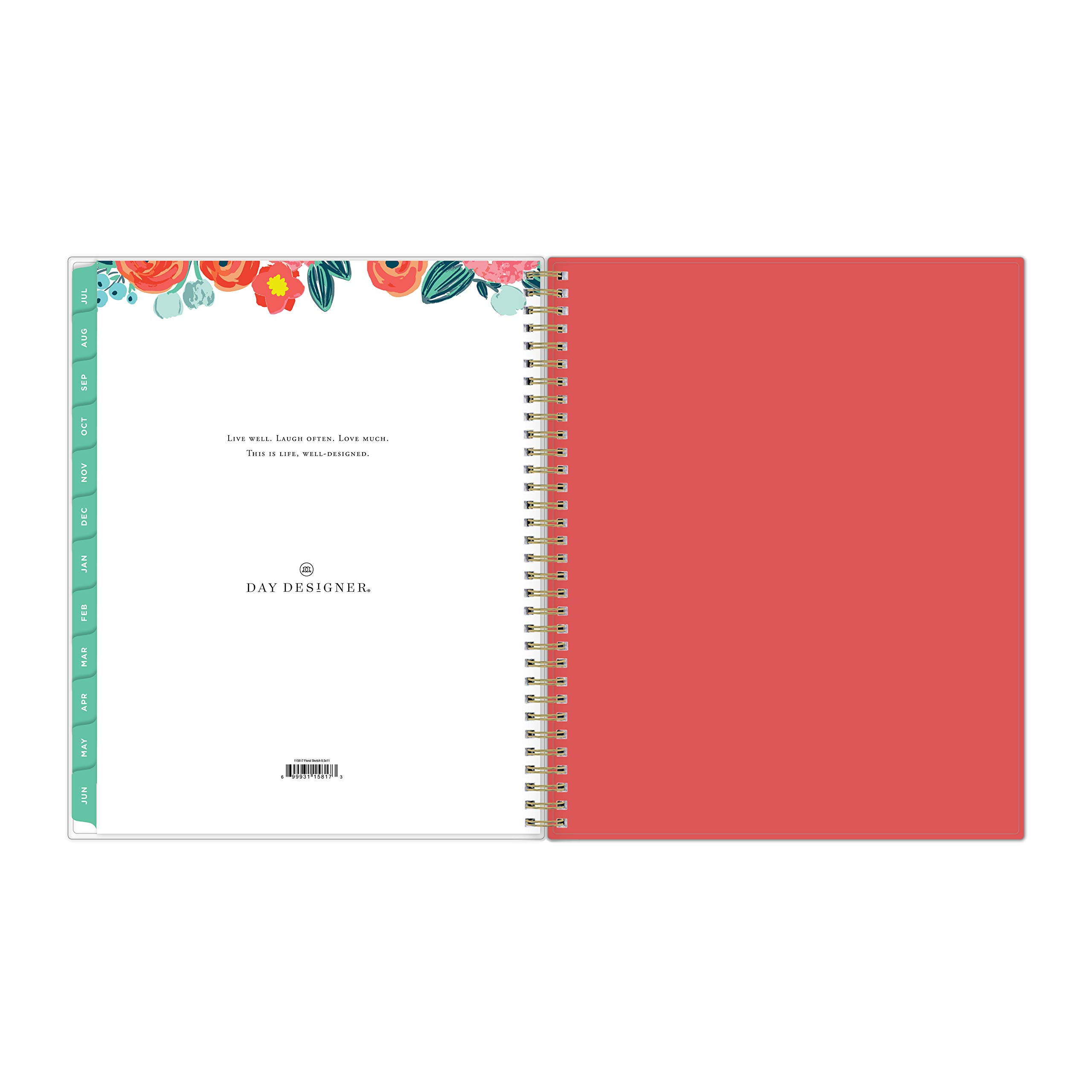 Day Designer for Blue Sky 2019-2020 Academic Year Weekly & Monthly Planner, Flexible Cover, Twin-Wire Binding, 8.5'' x 11'', Floral Sketch by Blue Sky (Image #9)