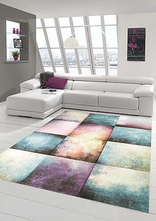 Traum Teppich Designerteppich Moderner Teppich Für Wohnzimmer Kurzflor Teppich  Bunt In Lila Blau Beige, Größe