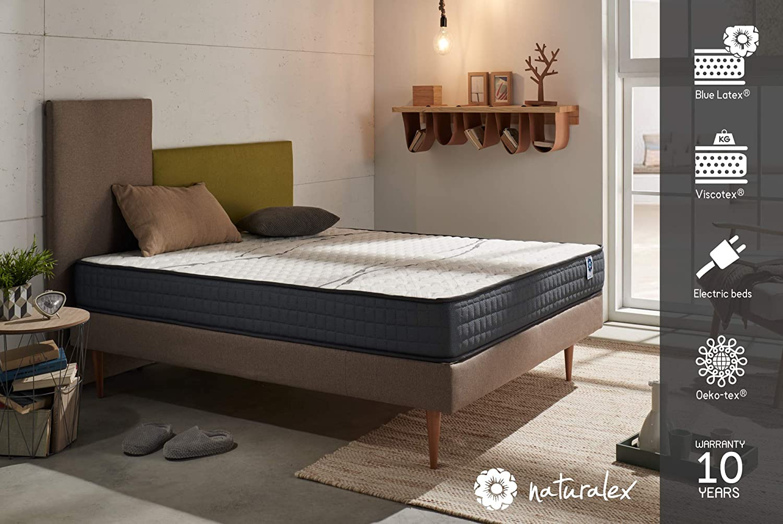 Naturalex Matratze, ergonomisch, viskoelastisch, Latexschaum, wendbar, 21 cm, Weiß 70 x 200 cm weiß