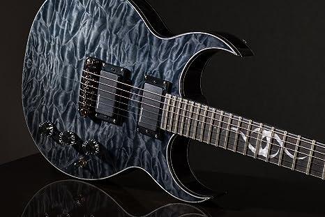 Ethan Hart EH-2 guitarra negro doble Cutaway