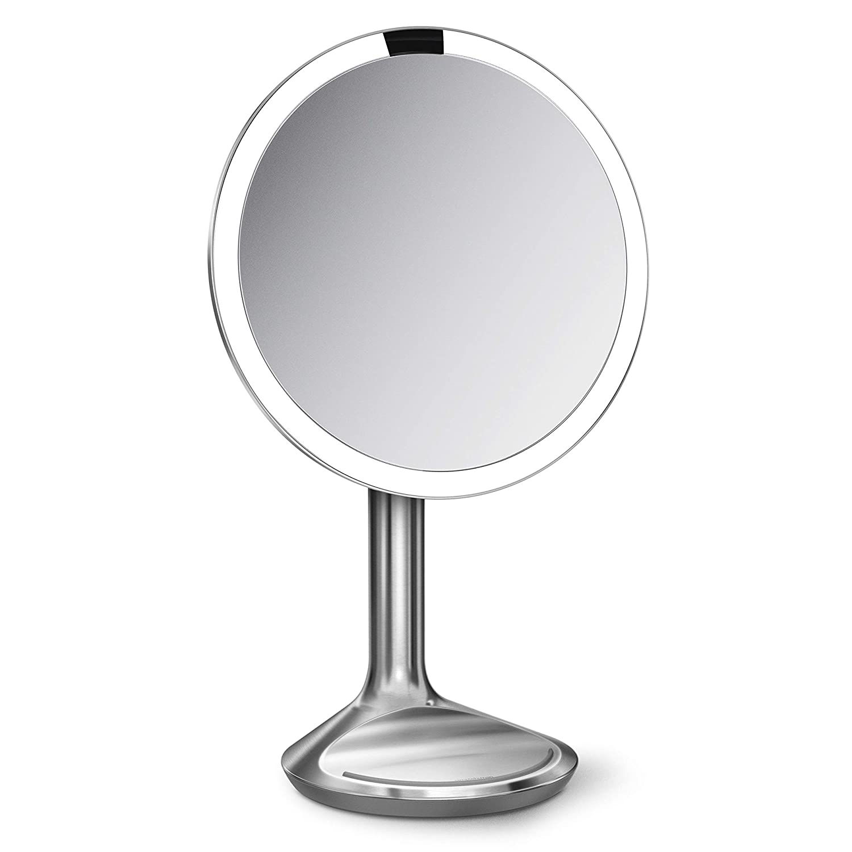 Simplehuman Lighted Makeup Mirror.Simplehuman Sensor Lighted Makeup Vanity Mirror Se 8 Round 5x Magnification Brushed Stainless Steel